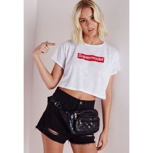 NWT Missguided White Supermodel Cropped T-Shirt